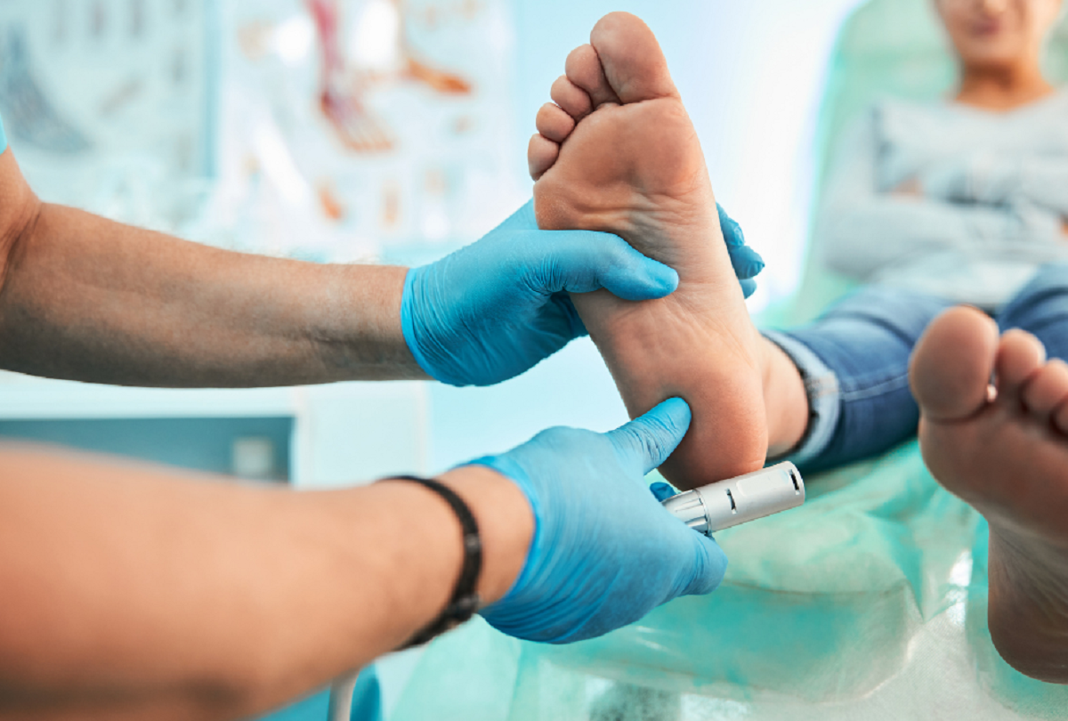 Podiatrist looking at a foot